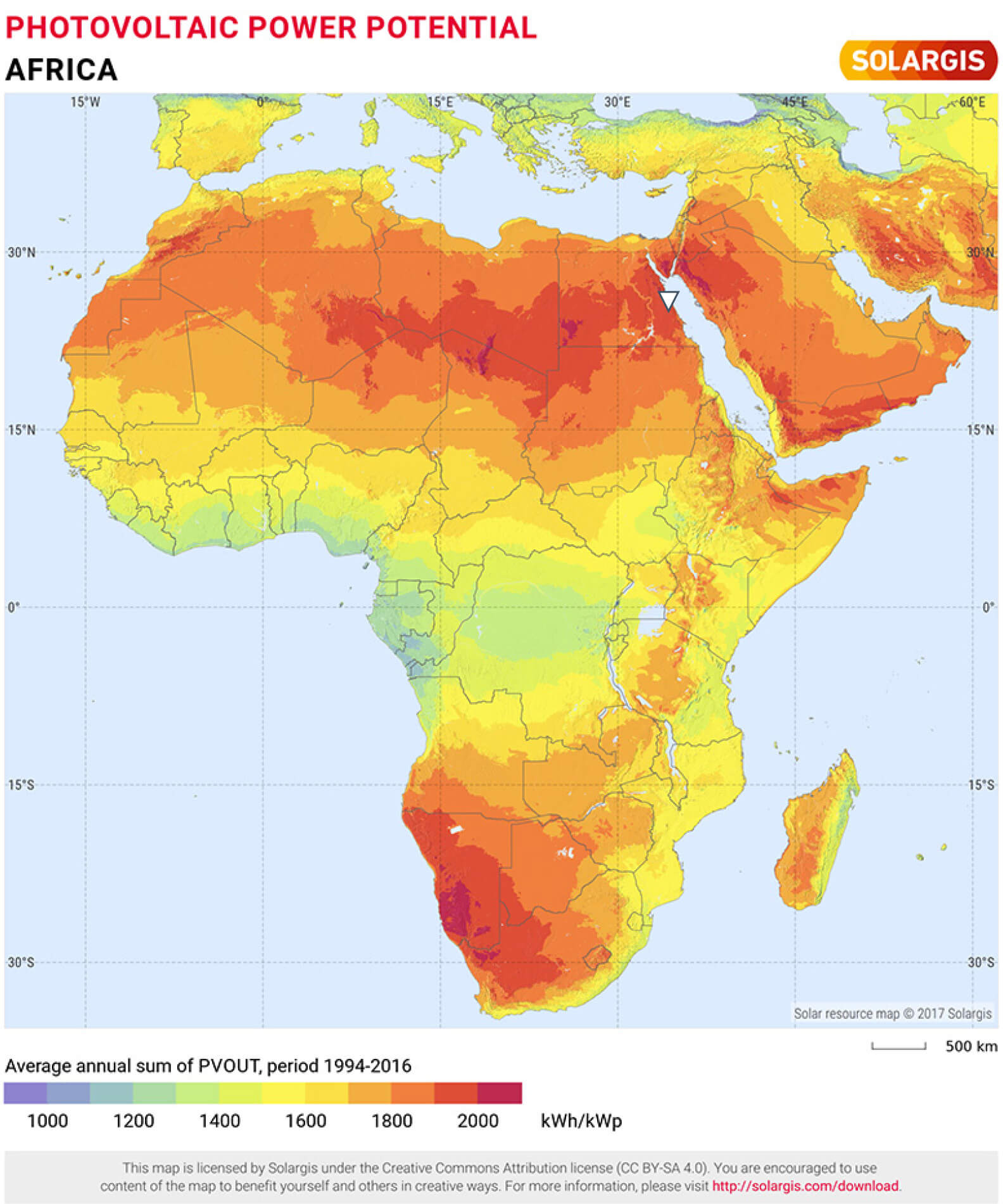 Photovoltaic power potential of Africa